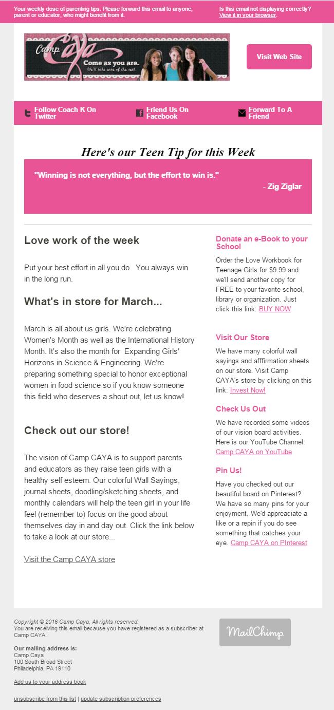 clean and simple newsletter template created in mailchimp