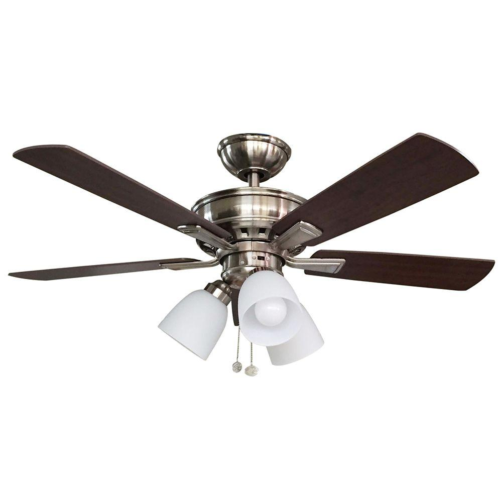 Hampton Bay Vaurgas 44 In Led Indoor Brushed Nickel Ceiling Fan With Light Kit Fans Indoor Outdoor