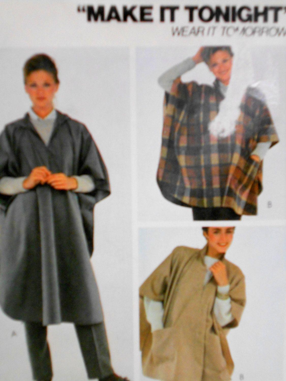 McCalls Poncho Pattern 7702, Sewing Pattern, Make it tonight Wear it ...