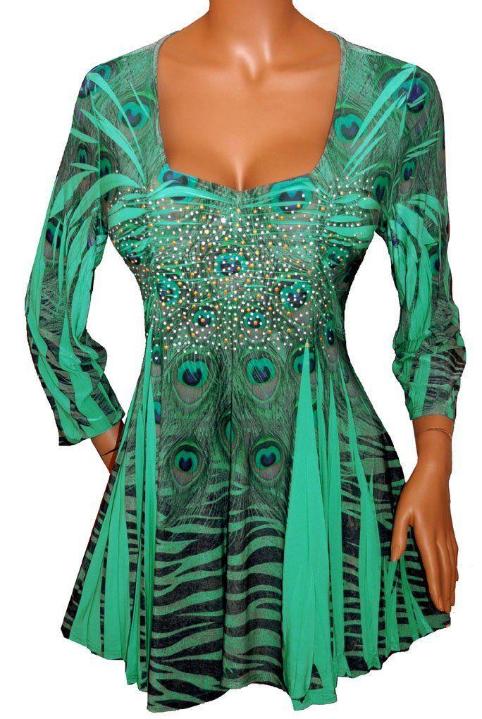 187a2f91c3b3b Amazon.com  FUNFASH EMERALD GREEN RHINESTONES EMPIRE WAIST TOP SHIRT Plus  Size Made in USA  Clothing
