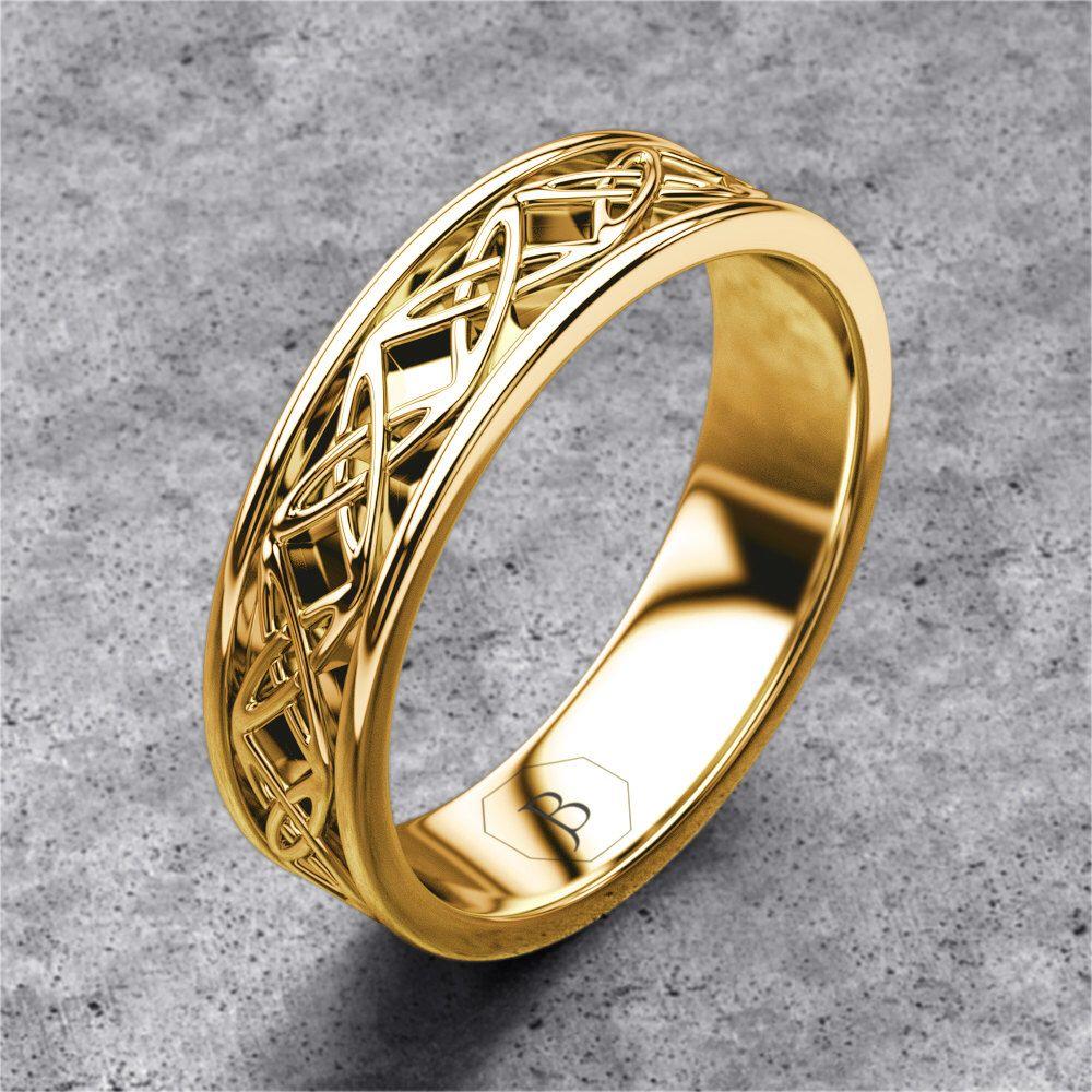 Gold Celtic Band Mens Celtic Ring Celtic Wedding Band Etsy Celtic Wedding Bands Celtic Wedding Rings Viking Wedding Ring