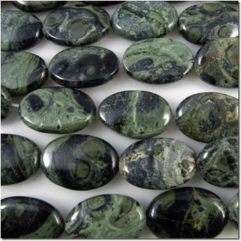 Kambaba Jasper oval 21mm gemstone beads (N): Wholesale, High Quality Gemstone Beads - Magpie Gemstones
