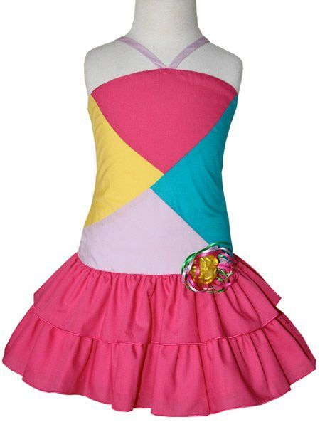 32409a6d512 Girls Patched Summer Whimsy Dress with Tiered Pink Skirt
