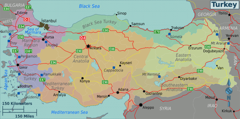 Map of Turkey Map shows the following REGIONS Marmara Aegean