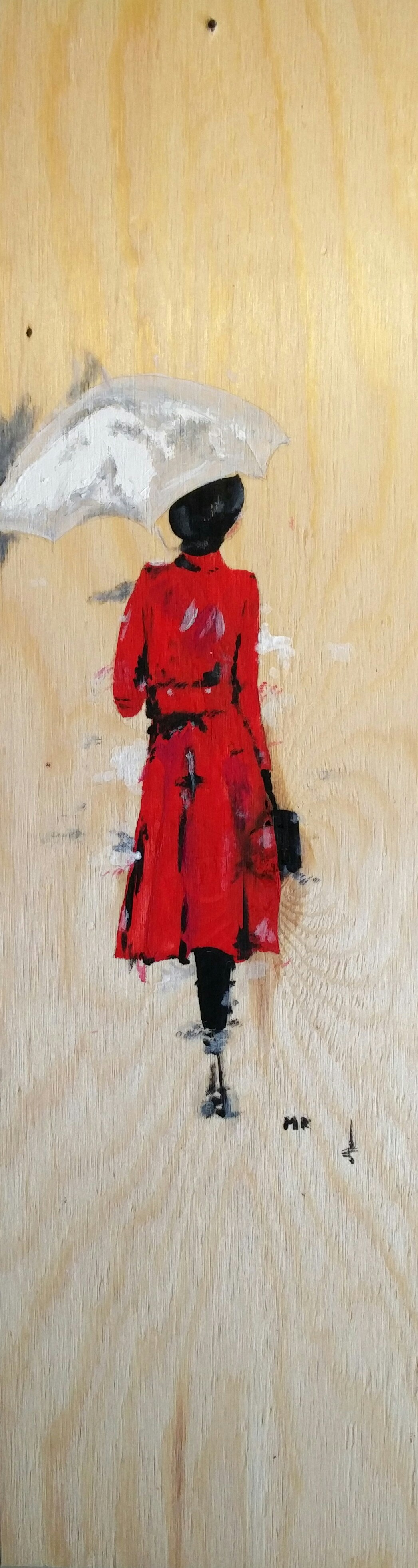 La signora in rosso - Dipinto con acquerelli su legno