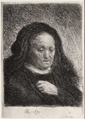 Rembrandt Van Rijn: The Artist's Mother With Her Hand On Her Chest
