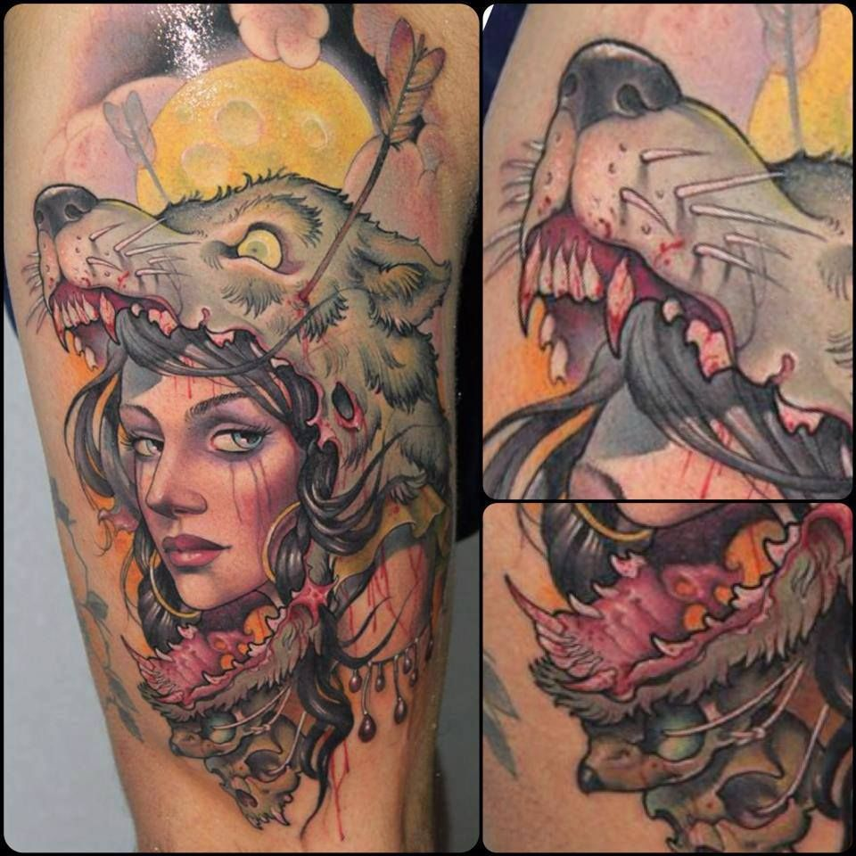 Traditional Tattoo Woman With Wolf Head Headdress Tattoo Head Tattoos Wolf Tattoos