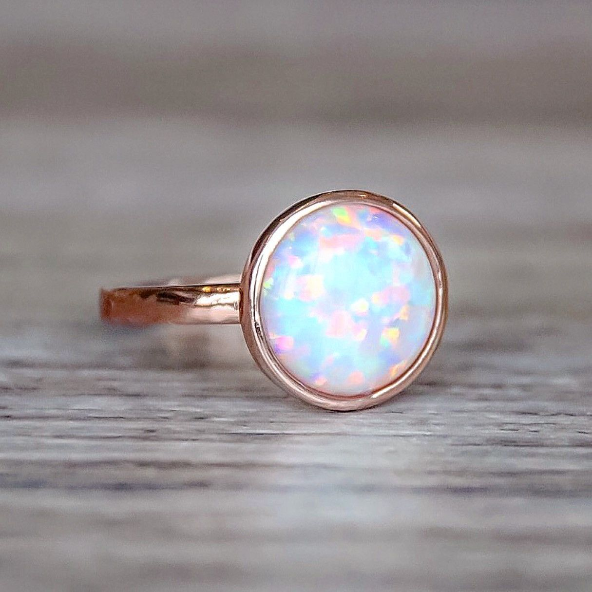 Rose Gold and Opal Ring Bohemian Gypsy Jewelry Indie and