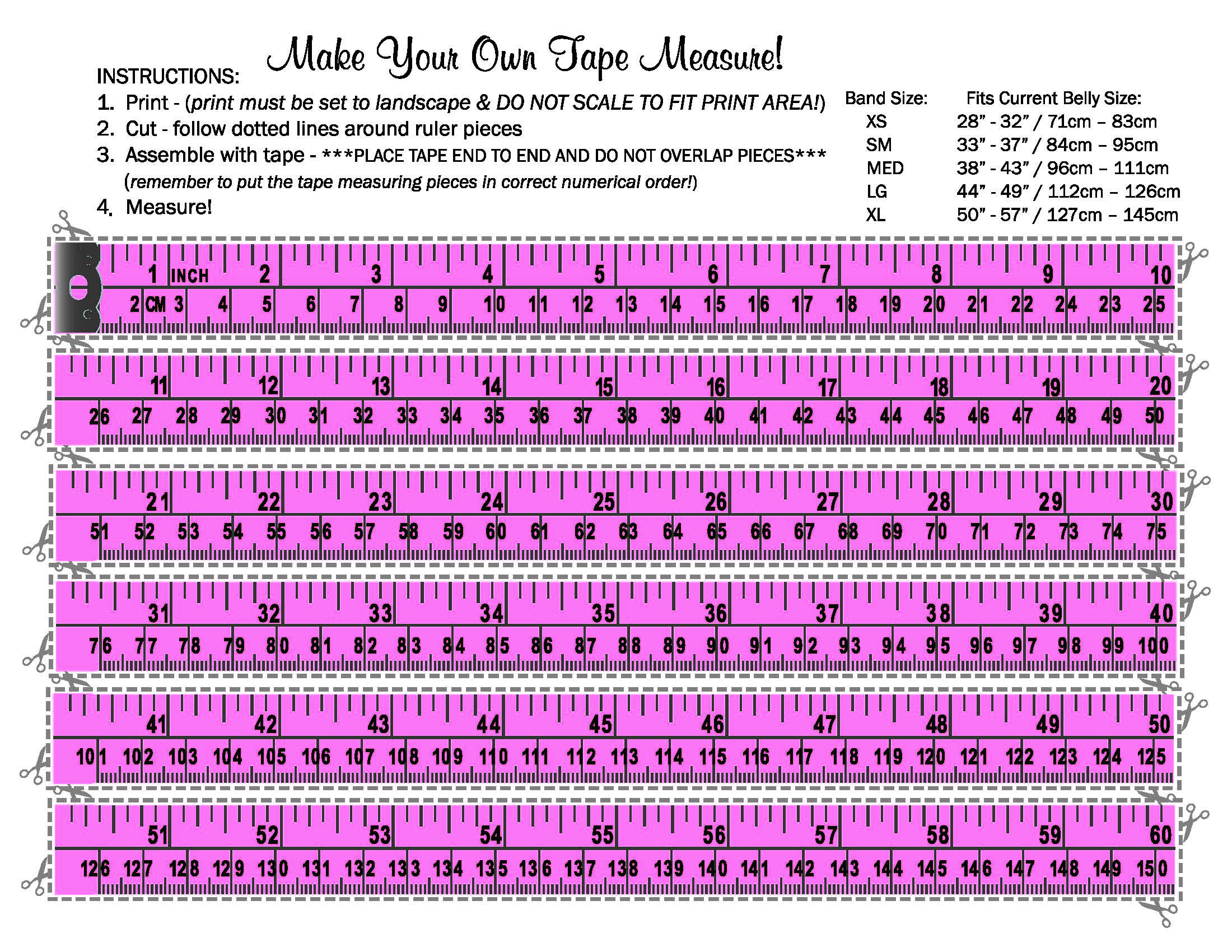Make Your Own Tape Measure Belly Bandit Sizing Oh Baby Free