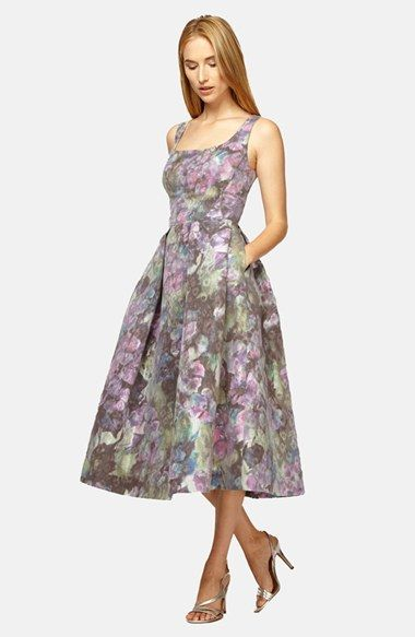 Kay Unger Floral Print Midi Fit Flare Dress Available At