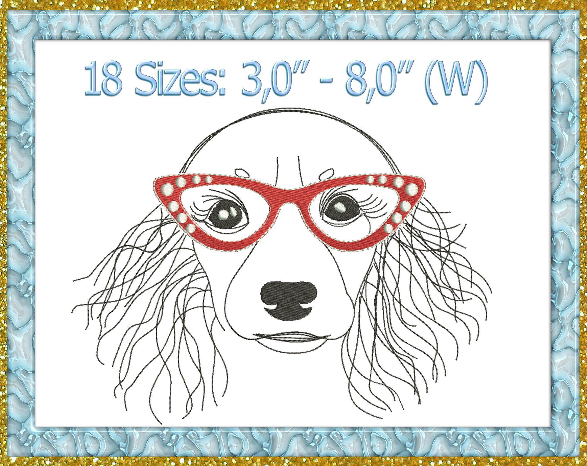 Dachshund Glasses Embroidery Design Longhair Dachshund Machine