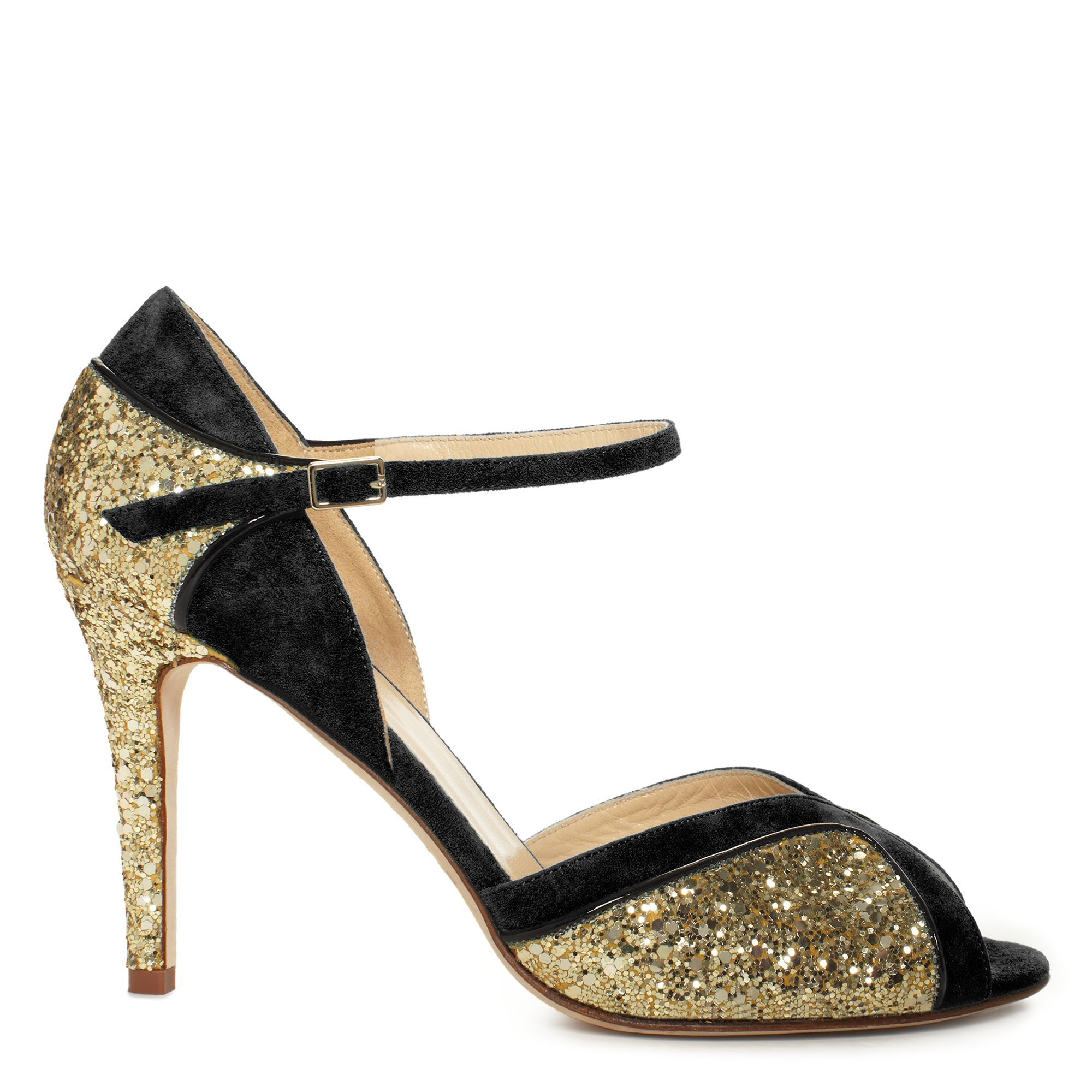 black and gold glitter heels #KateSpade