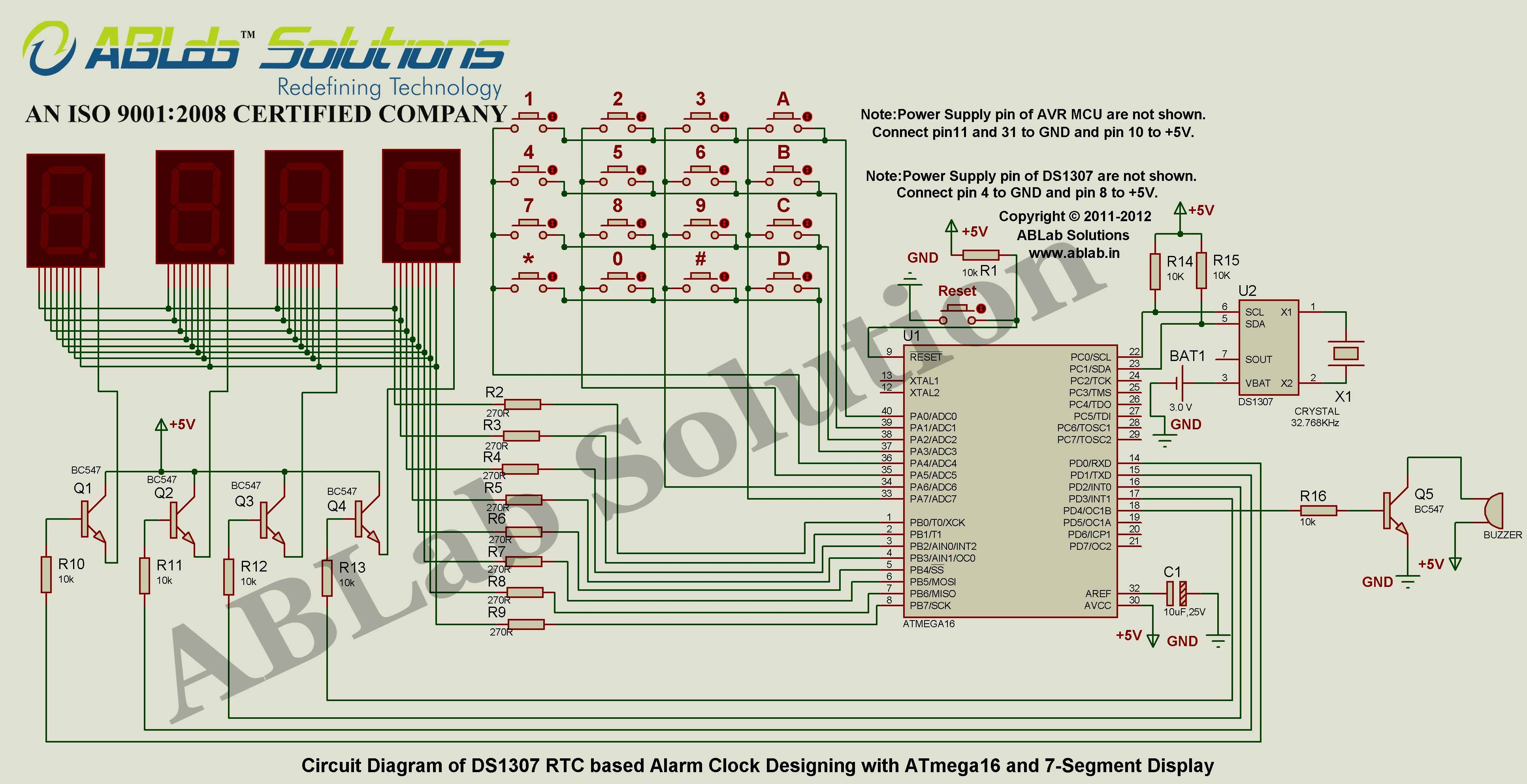 DS1307-RTC-based-Alarm-Clock-Designing-with-AVR ATmega16  Microcontroller-and-7-Segment-Display Circuit Diagram ABLab Solutions