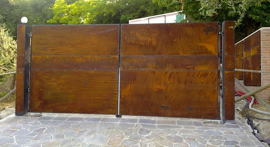 corten steel gates google search fences pinterest extension maison portail et extension. Black Bedroom Furniture Sets. Home Design Ideas