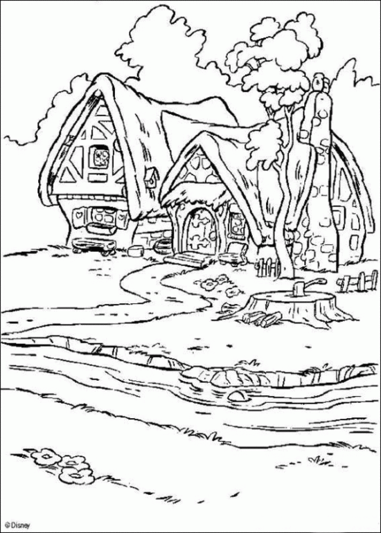 Princess Snow White House Coloring Pages Disneys Princess