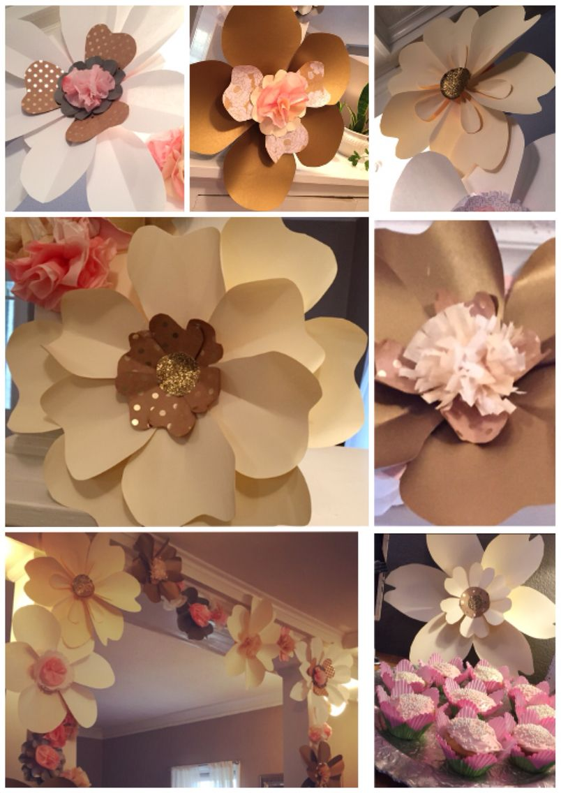 Cream Pink And Gold Giant Paper Flowers For A Wedding Shower