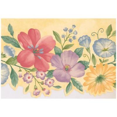 Retro Art Purple Yellow Red Blue Flowers on Butter Yellow Scalloped Prepasted Wallpaper Border, Multi #blueflowerwallpaper