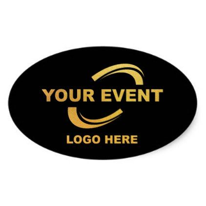 Your event logo stickers black oval craft supplies diy custom design supply special