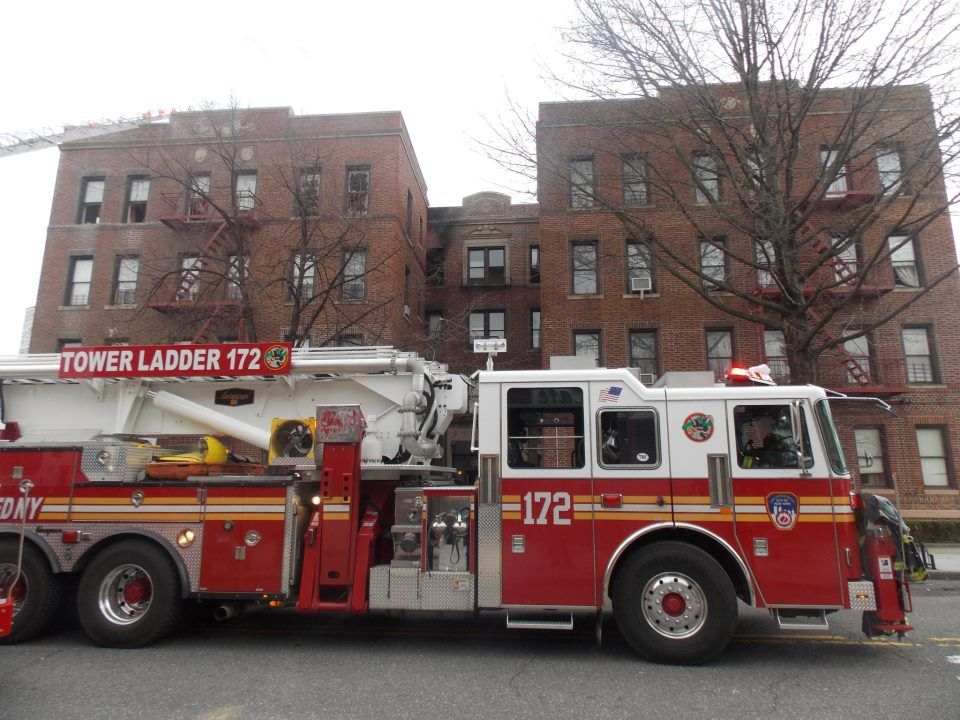 Brand new Tower Ladder 172 at a Brooklyn All-Hands today.  Photo by Scott Berliner  shared by nyfirestore.com