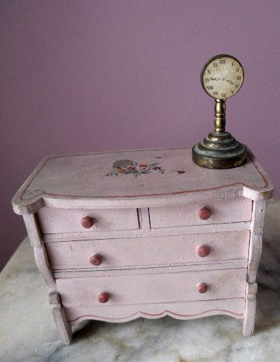 Antique Dollhouse Miniature Bedroom Metal Shelf Mantle Clock