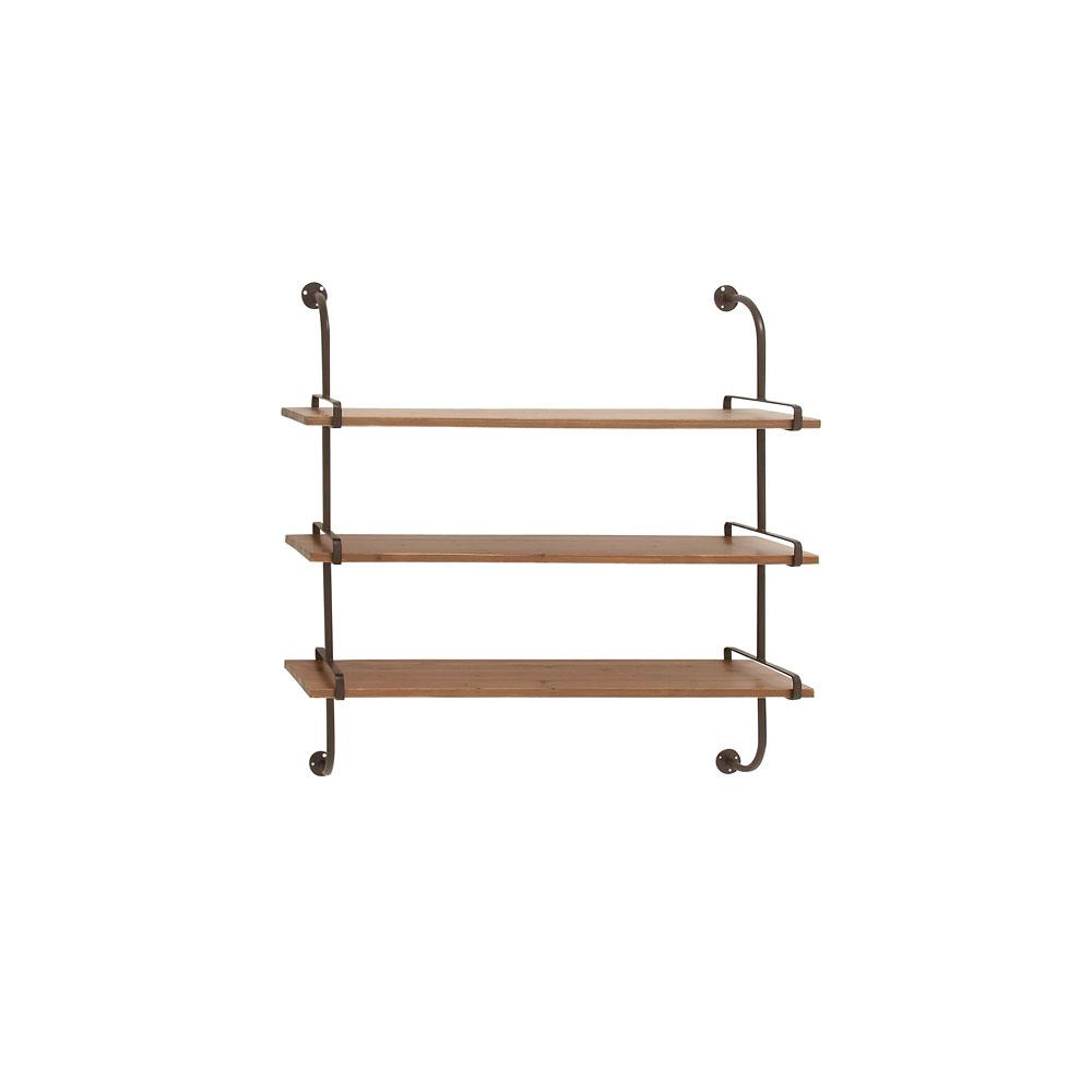 Litton Lane 12 In W X 36 In H Firwood 3 Tiered Wall Shelf In Oak Brown With Curved Black Iron Bar Mounts 58616 The Home Depot Wall Shelf Decor Wall Shelves