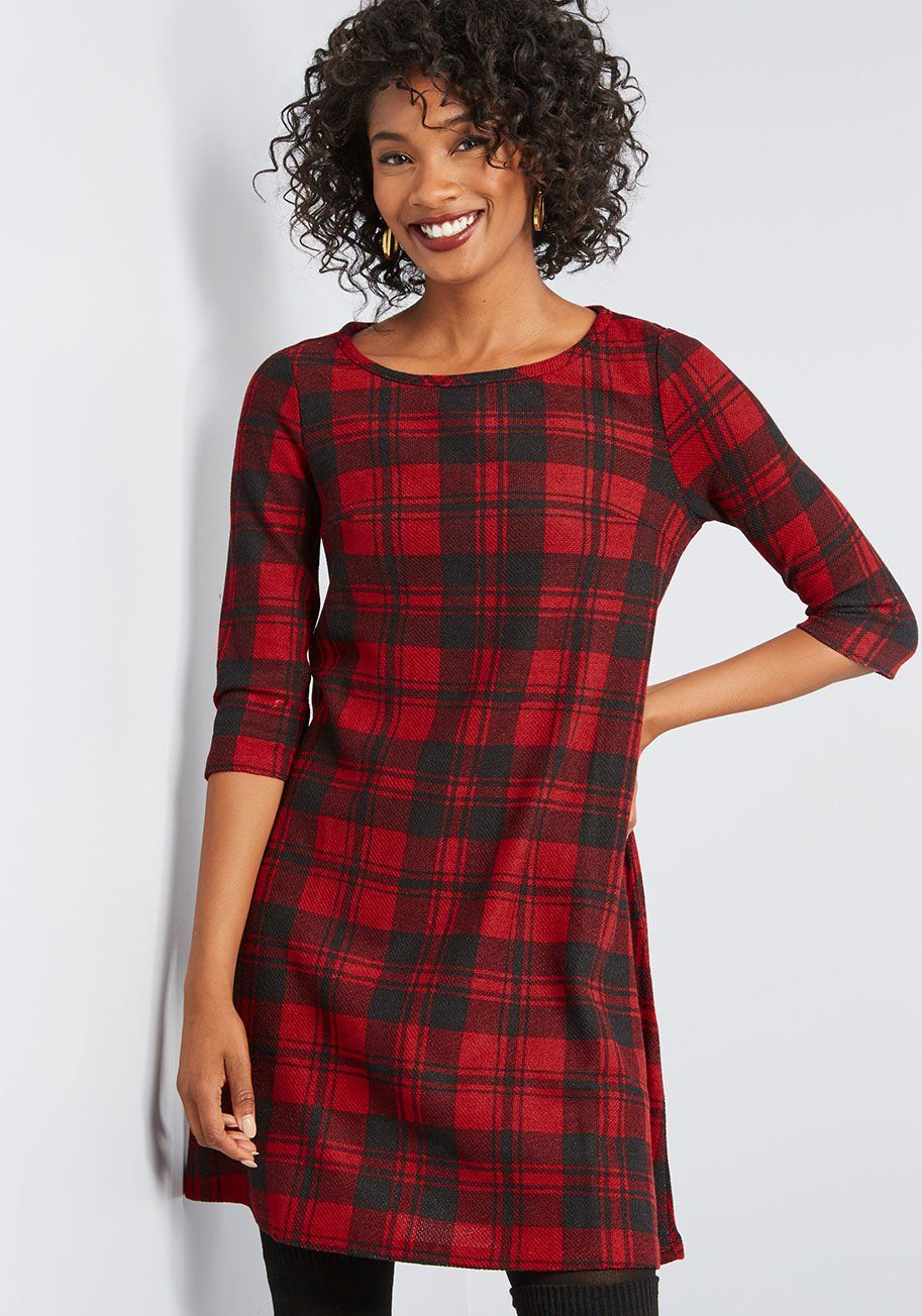 Cozy Plaid Sweater Dress in 2020 Dresses, Christmas