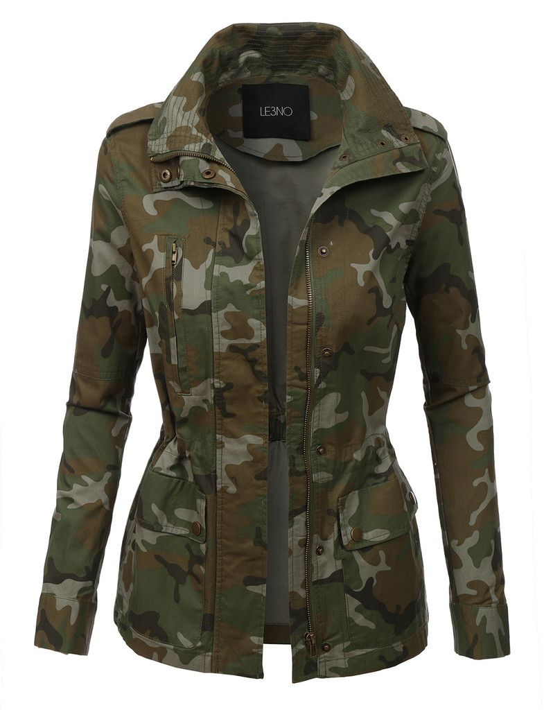 4f908a0f484a3 LE3NO Womens Long Sleeve Camo Military Anorak Jacket with Pockets ...