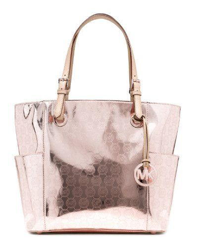 Michael Kors Jet Set East West Signature Tote Mirror Metallic Rose Gold