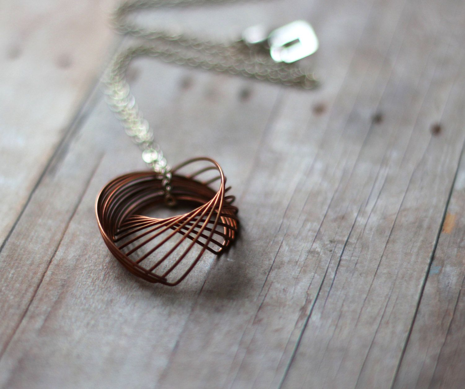 Spirograph Pendant - Copper Wire Coil Necklace with Silver Chain ...