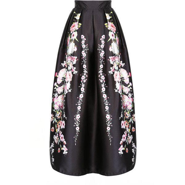 ddfce5b11 Choies Black Sakura Print High Waist Maxi Skirt ($31) ❤ liked on Polyvore  featuring skirts, black, ankle length skirt, high-waist skirt, high waisted  maxi ...