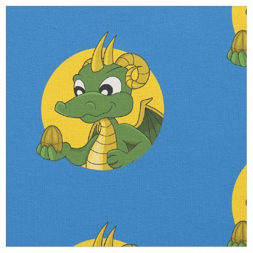 Green dragon cartoon fabric