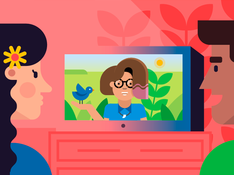 Family Watching Tv Illustration Night Illustration Character Flat Design