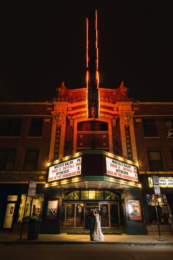 Logan Theatre At Night Noah Chelsea S Wedding Photos Shot By Hitch And Sparrow Wedding Co Theatre Wedding Movie Theater Wedding Movie Theme Wedding