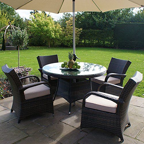 All Weather 4 Seater Outdoor Rattan Garden Furniture Dining Set