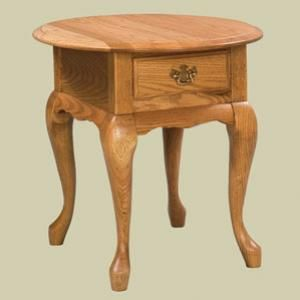 Redux Antique Hardwood End Tables   Heritage Queen Anne Oval End Table With  Drawer. Caringly