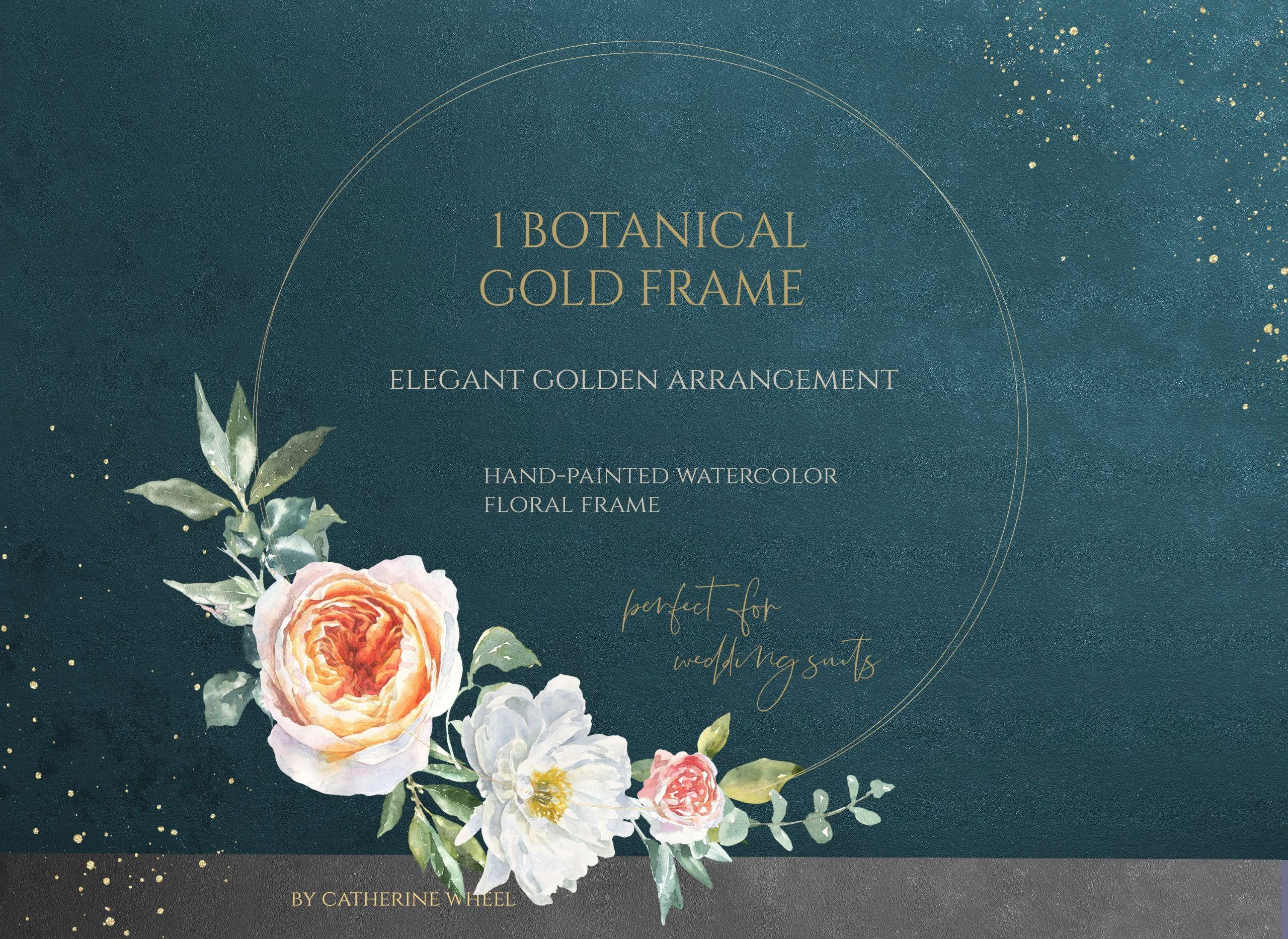 Watercolor Gold Circle Frame Round Gold Floral Geometric Frame Golden Logo Wedding Invite Flower Circle Wedding Logos Gold Circle Frames Peony Illustration