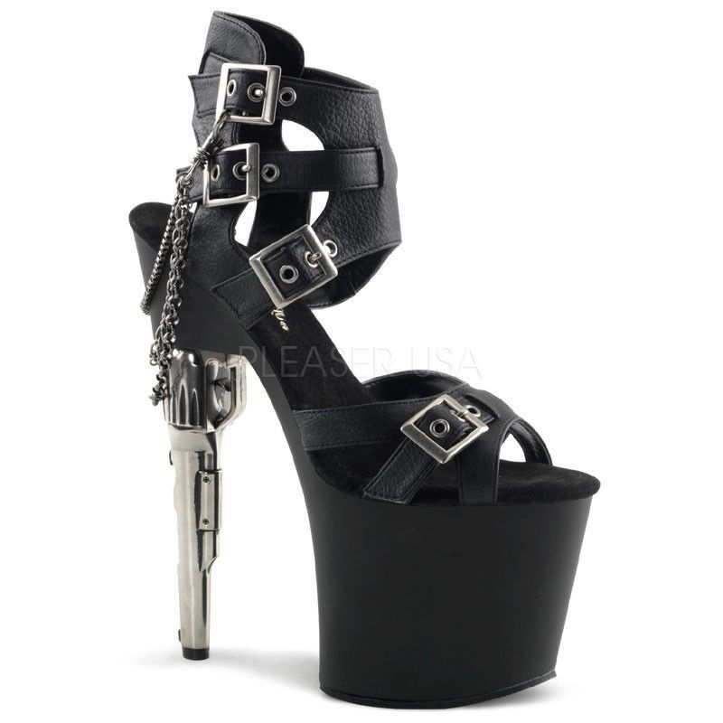 a63e538f35c4 PLEASER Sexy Gun High Heels Strappy Black Buckling Platform Exotic Dancer  Shoes  Pleaser  PlatformsWedges  Blackhighheels