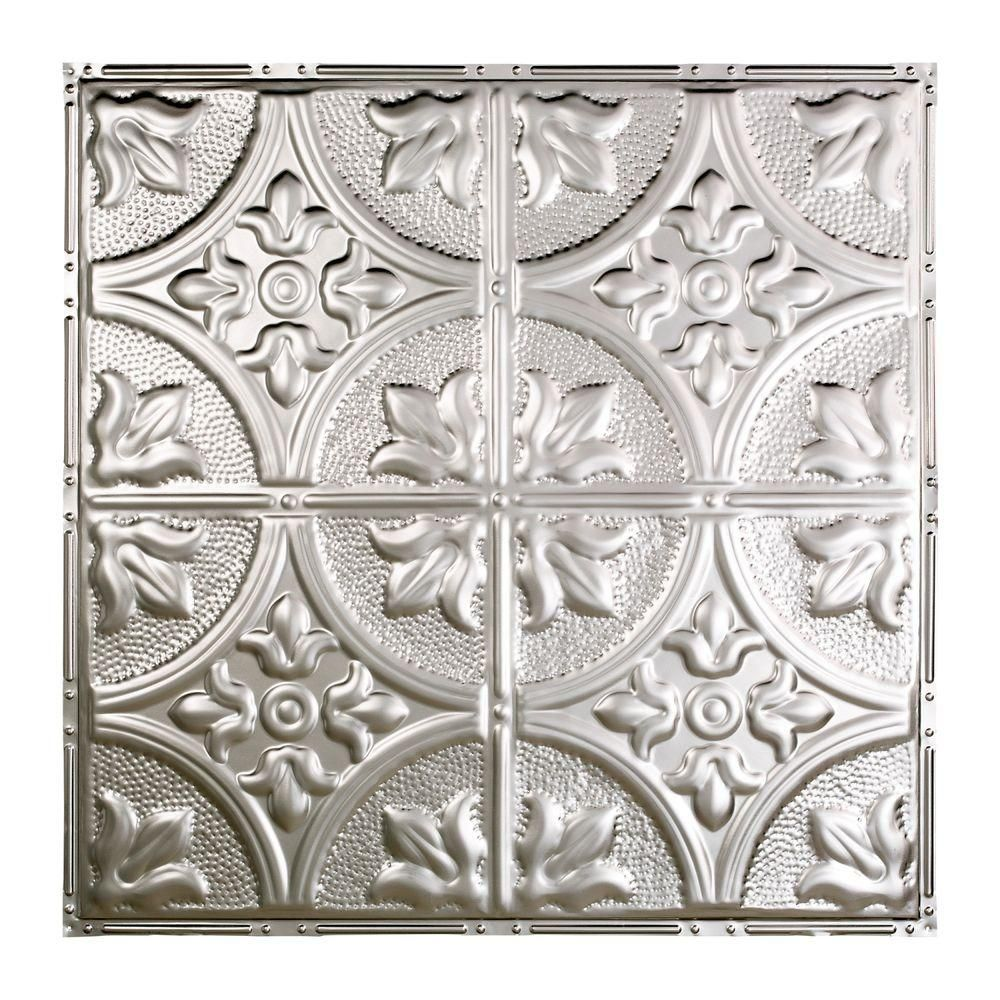 Great Lakes Tin Jamestown 2 Ft X 2 Ft Nail Up Tin Ceiling Tile In Unfinished T51 03 Tin Ceiling Ceiling Tile Tin Ceiling Tiles