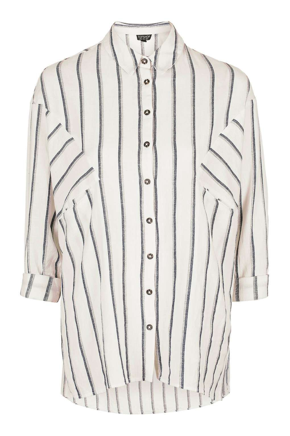 Oversized Shadow Stripe Linen Shirt Tops Clothing