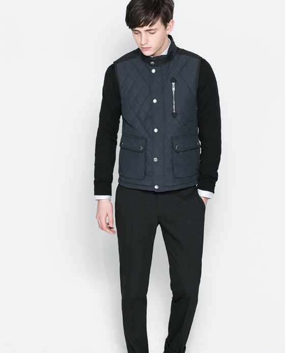 QUILTED WAISTCOAT WITH CONTRASTS from Zara