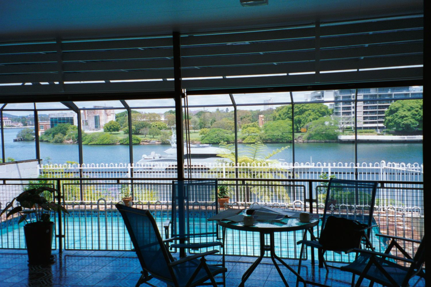 Living on the Brisbane River, at Hawthorne. The view across to New Farm from my balcony