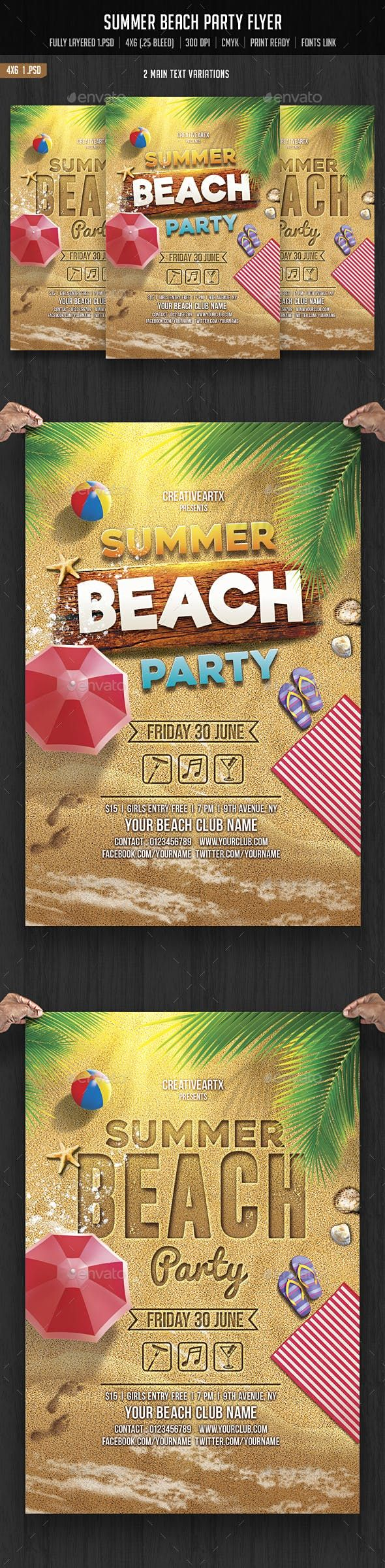 Photo of Summer Beach Party — Photoshop PSD #beach flyer #invitation