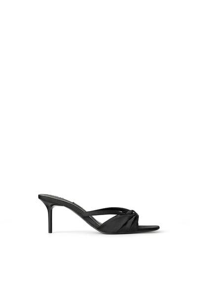 Pleated Mid Height Heeled Sandals Heels Sandals Kitten Heels