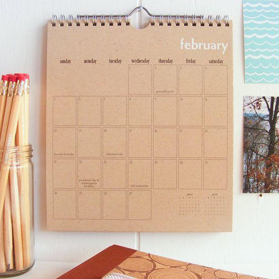 wall calendar on recycled kraft