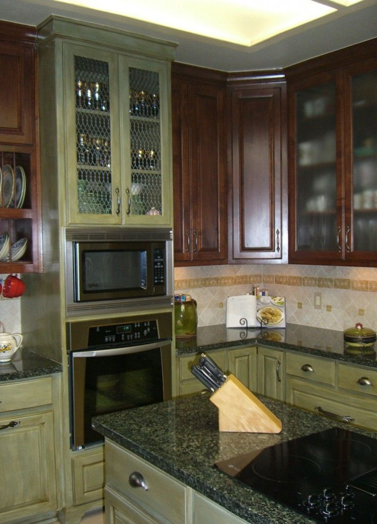 Green On Bottom Brown On Top Home Kitchen Craft Cabinets Green