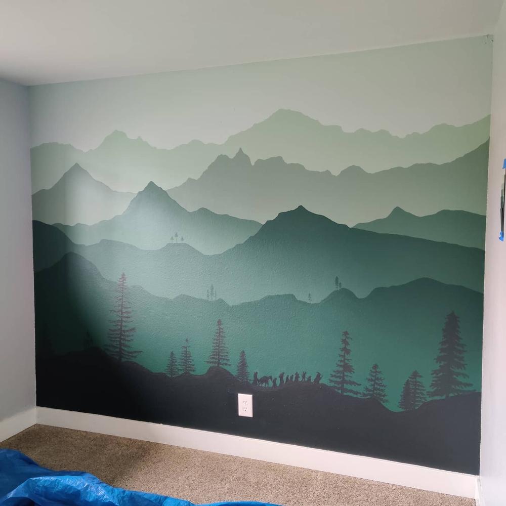 Hobbit Mural Nursery Reddit Google Search Mountain Wall Painting Nursery Wall Painting Nursery Mural