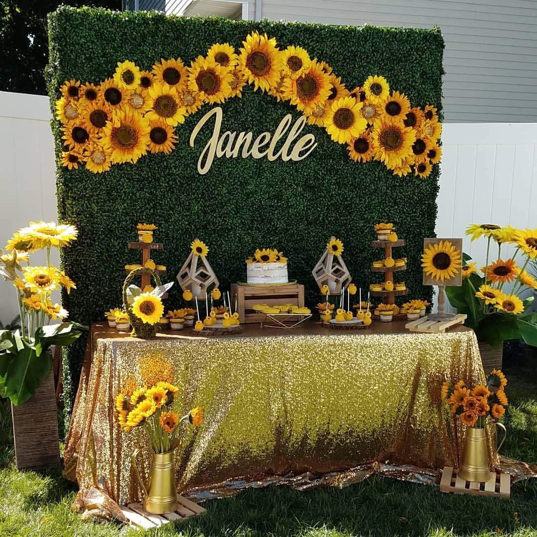 6596b801e24 Sunflower🌻 Bridal Shower Dessert Table   Grass Wall Set up by yours  Truly🌻 Grass Wall Rental
