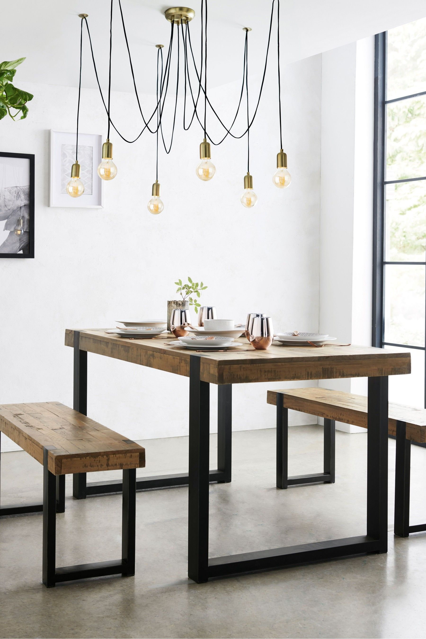 Next Jefferson Bench Set Brown Dining Table With Bench