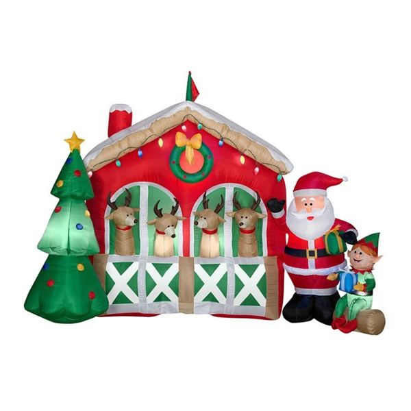 Shop J Marcus 86001 6-ft Light Up Airblown Reindeer Stable Scene at