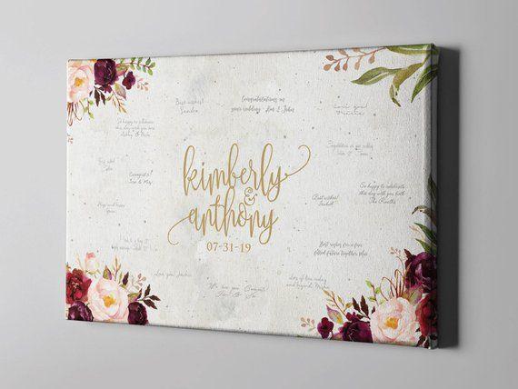 SALE 50 Off Canvas Guest Book, Elegant Marsala Floral Signature